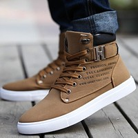 WGZNYN 2017 Fashion High Quality Men Leather Shoes High top Men's Casual Shoes Breathable Canvas Man Lace-up Shoes Black