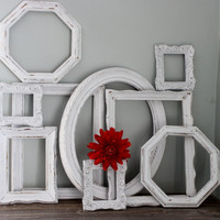 Vintage Shabby Chic  Frames , Wall Gallery Collection of 9 , Chippy White for Paris Apartment Decor & Wedding Decoration