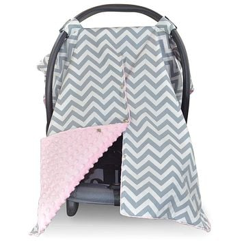 2 in 1 Carseat Canopy and Nursing Cover Up with Peekaboo Opening | Large Infant Car Seat Canopy for Girl or Boy | Best Baby Shower Gift for Breastfeeding Moms | Chevron Pattern with Soft Pink Minky Chevron/ Soft Pink Minky