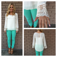 Ivory Crochet Long Sleeve Denny Blouse