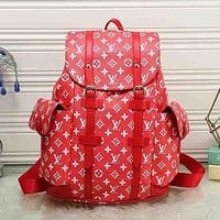 LV Louis Vuitton Popular Women Monogram Leather Bookbag Shoulder Bag Handbag Backpack Red