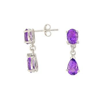 Amethyst Gemstone Teardrop Dangle Earrings 925 Sterling Silver (2.6 cttw)
