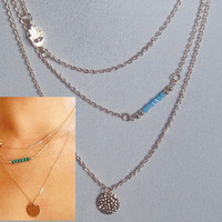 Trendy 3 layers  Necklace,Multi Chains Necklace