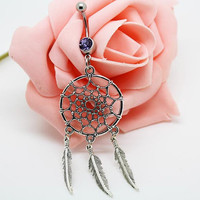 Belly ring,Dream catcher belly button jewelry, Feather belly button ring
