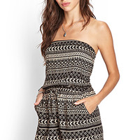 FOREVER 21 Strapless Tribal Print Romper Taupe/Black Large