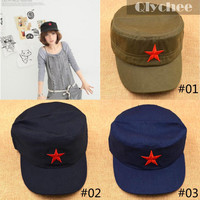 Nostalgic Style Military Hats China Army Handmade Cotton Cap Hat Red Star Chairmen Mao Communist Party