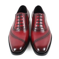 Handmade vintage retro Designer Wedding Party dance Casual male dress shoe Genuine Leather Mens Oxford Shoes