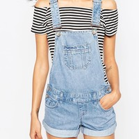 New Look Petite Denim Overall Short