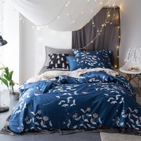 CHAUSUB New Duvet Cover Set 4PC Satin Egyptian Cotton Bedding Set Quilt Cover King Queen Size Silky Bed Sheets Pillow Shams Blue