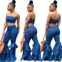 Denim Two Piece Set Summer Strapless Crop Top and Bell Bottom Jeans Flare Pant Suit Matching Sets Outfits Sexy 2 Piece Set Women