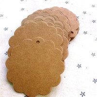 50/100Pcs Flower Round Kraft Paper Hang Tags Wedding Party Favor Label Gift Cards = 1932845444