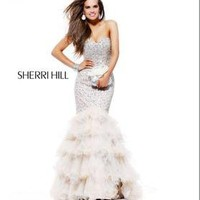 Sherri Hill 2801 Nude/Silver Sweetheart Evening Gown Dress Sz 0 4 New NWT