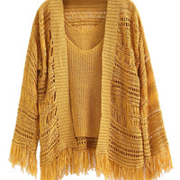 Yellow Knit Fringe Cardigan and Tank Set
