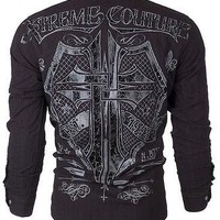 Licensed Official XTREME COUTURE by AFFLICTION Men BUTTON DOWN Shirt RATTLE Biker UFC BKE Roar $78