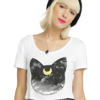 Sailor Moon Luna Head Girls Crop Top