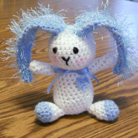 Blue and White Crocheted Bunny by thecrafter on Etsy