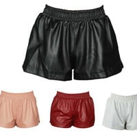 LEATHER SHORTS runner fashion style retro vtg swag vintage culottes hot pants wait ladies womens elastic hipster faux trendy cool cc tumblr