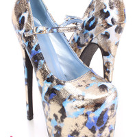 Blue Printed Maryjane High Heels Metallic Fabric