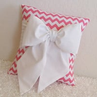 Pink White Chevron Bow Accent  Throw Pillow 1 by pillowsbycindee