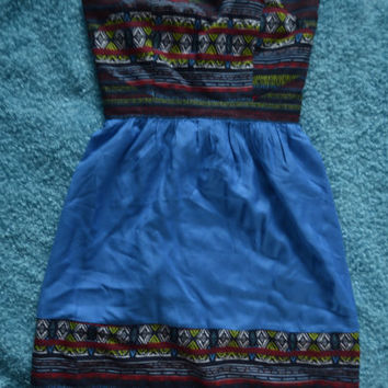 Indian Print Najavo Urban Outfitters Strapless Dress