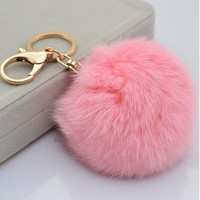 Cute Genuine Leather Rabbit fur ball plush key chain for car key ring Bag Pendant car keychain = 1932696708