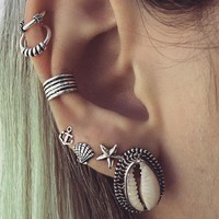 7 Pcs/set Fashion Personality Bohemia Style Shell Earrings 171120