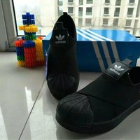 """""""Adidas"""" Unisex Sport Casual Crisscross Bandage Cloth Sneakers Couple Shell Head Plate Shoes"""