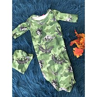 Camouflage Dinosaur Gown w/ Hat One Size