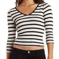 Sweater Knit Striped Top by Charlotte Russe