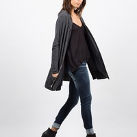 Side Slit Zip Down Jacket - Charcoal