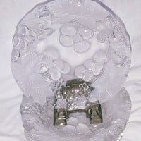 A Set of Four Frost Walther Glas Crystal Dessert / Salad / Cocktail Plates With an Embossed Raised Cherry Design