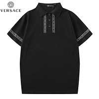 Versace New fashion letter print lapel couple top t-shirt Black