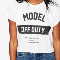 The Laundry Room Model Off Duty Cropped Muscle T-Shirt