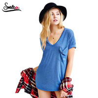 Summer Style All-match Solid Short Sleeve V Neck T Shirt Women Soft Loose Casual Tshirt with Pocket Plus Size Tops