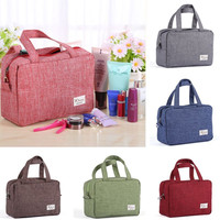 Luxury Ladies Wash Bag Women Cotton Fabric Casual Toiletry Travel MakeUp Hanging Folding Organize Bags