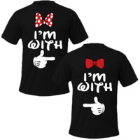 I'm with him I'm with her mickey & minnie T-shirt Love Couple