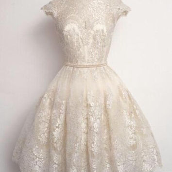 O Neck White Lace Homecoming Dress 2016