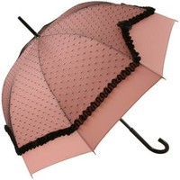 Plumetis Old Rose Pink with Black Lace Umbrella by Chantal Thomass - Brolliesgalore