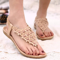 Beading Women Sandals 2017 Summer Sandals Women Flats Sandals Ladies Shoes