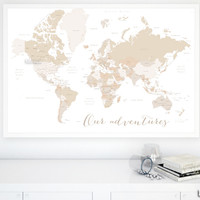 Our adventures world map with countries and states labelled, large 60x40""