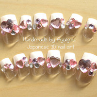 Kawaii nails, lolita fashion, sweet lolita, nail set, Japanese nail, 3D nails, fake nails, press on nails, french nail, nail gem, heart