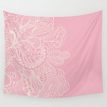 Wall Tapestry Dusty Rose Pink Mehndi Paisley Design Off White Cream Pattern Boho Bohemian Dorm Room Baby Girl Nursery  Home Decor