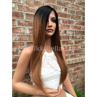 """Barbara Dark Ombre Auburn Multi Parting Human Hair Blend straight lace front wig 22"""""""