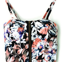 Floral Strappy Cropped Corset Top