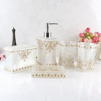 Beautiful butterfly  floral 5PCS Resin Bathroom Accessories Set Soap Dispenser/Toothbrush Holder/Tumbler/Soap Dish white