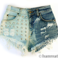 """Hanmattan """"DOMINO"""" vintage waisted studded denim cutoff shorts ombre dip dyed hot pants"""