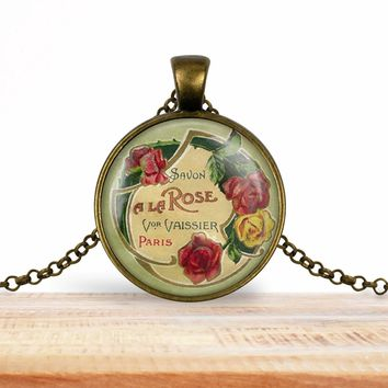 Vintage product label photo pendant - Savon à la rose Vor Vaissier- francophile necklace