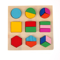 educational math toys Wooden Square Shape Puzzle Toy Montessori Early Educational Learning Kids Toy Gifts montessori geometry