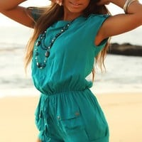 Vice Doll Cover Up Hot Shorts Jumpsuit Teal - Chynna Dolls