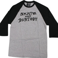 Thrasher Skate & Destroy Raglan 3/4 Sleeve Small Grey/Black